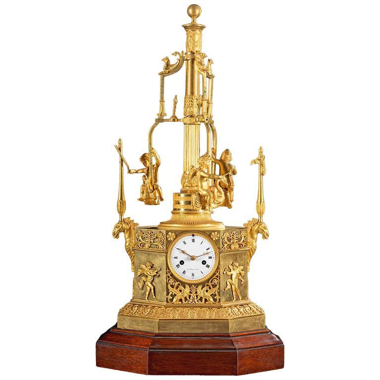 Rare Empire Ormolu Automaton Carousel Clock, Vaillant, Paris, circa 1805 1