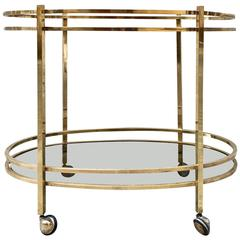 Italy Oval Brass Trolley Mid-Century