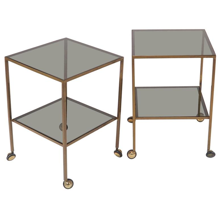 Pair Of Nice Italian Brass Side Tables With Thick Glass And Wheels Milano  1960s 1
