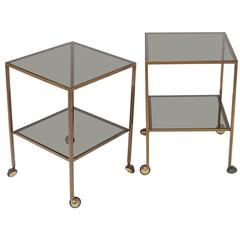 Pair of Nice Italian Brass Side Tables with thick glass and wheels Milano 1960s