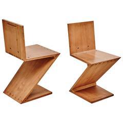 Pair of Gerrit Rietveld Zig-Zag Chairs