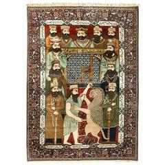 19th Century Wool Pictorial Mohtashan Kashan