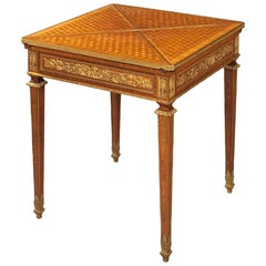 French Card Table with Parquetry and Gilt Bronze Mounts, 19th Century