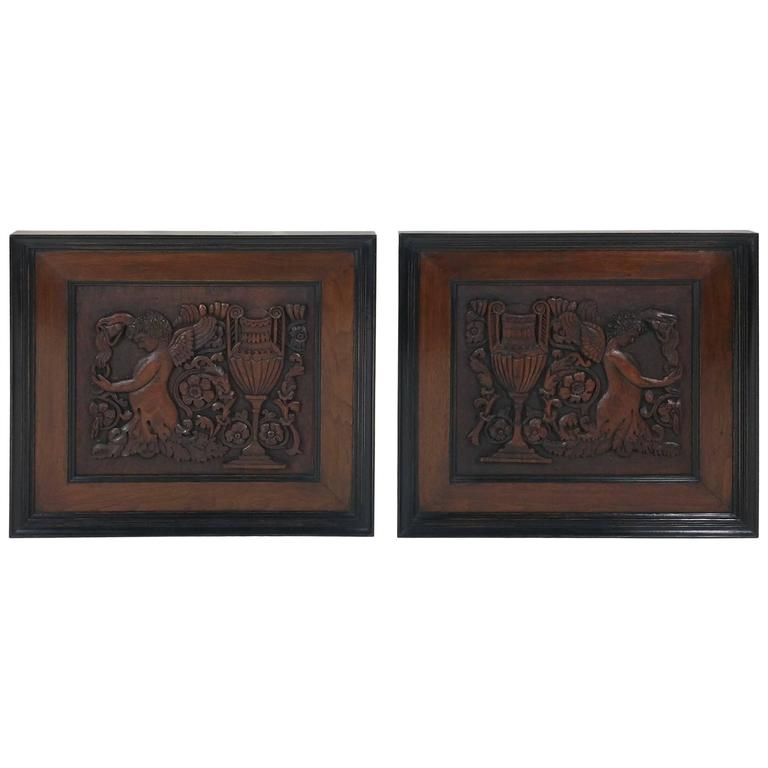Pair of 19th Century Carved Walnut Framed Panels