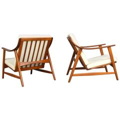 Arne Hovmand Olsen for MOGENS KOLD Pair of Lounge Chairs, Denmark, 1950s