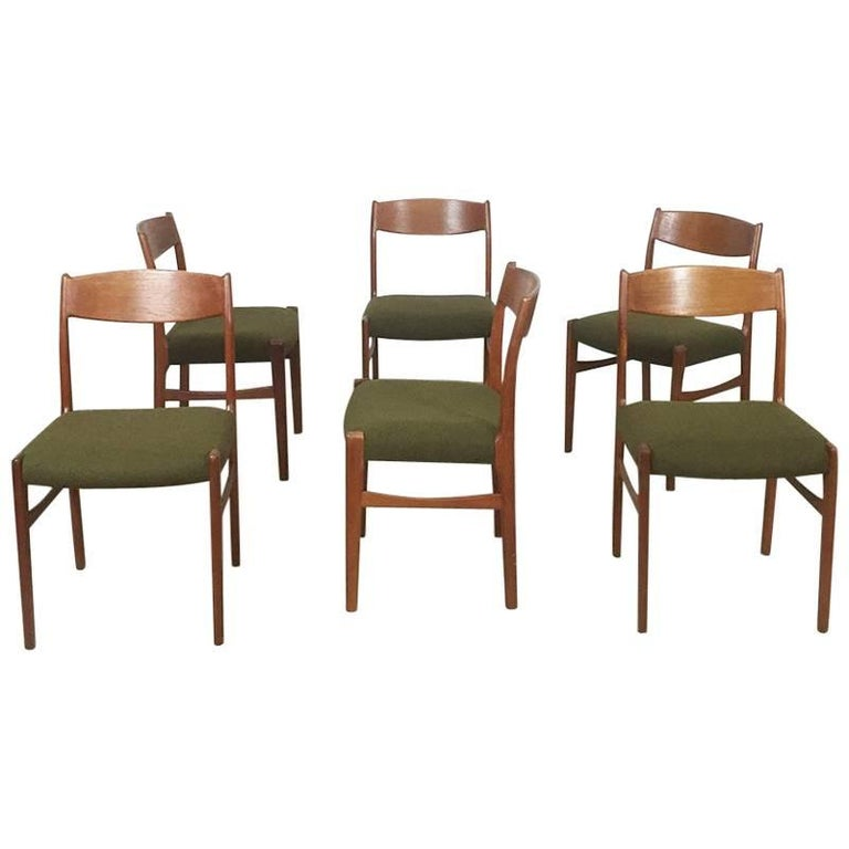 Set of Six Teak Chairs Green Hopsak by G. S. Glyngore Stolefabrik, Denmark 1960s