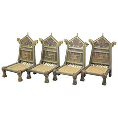 Four Orientalist Chairs in Wood and Rope, circa 1950