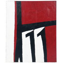 Abstract Red and Black Painting after Robert Motherwell