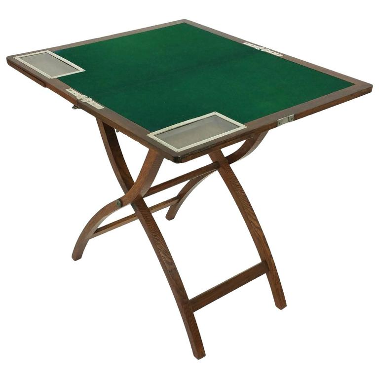 Edwardian Oak And Chrome Folding Games Table By Asprey