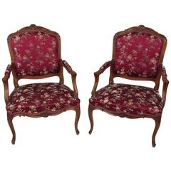 Pair of Early 20th Century French Carved Walnut Fauteuils