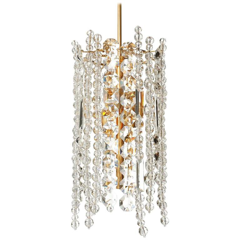 Bakalowits Kronleuchter Pendelleuchte, Vergoldetes Messing Kristallglas, 1960er Jahre 1