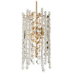 Bakalowits Chandelier Pendant Light, Gilt Brass Crystal Glass, 1960s
