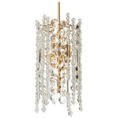 Bakalowits Chandelier Pendant Light, Gilt Brass Crystal Glass, 1960s