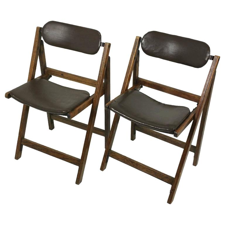 Pair of Edwardian Oak and Leather 'Tansad' Folding Chairs