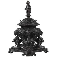 Restauration Tripod Bronze Inkwell Decorated With Fantastic Animals