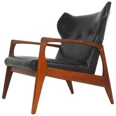 Amazing Scandinavian Wingback Lounge Chair, 1950s