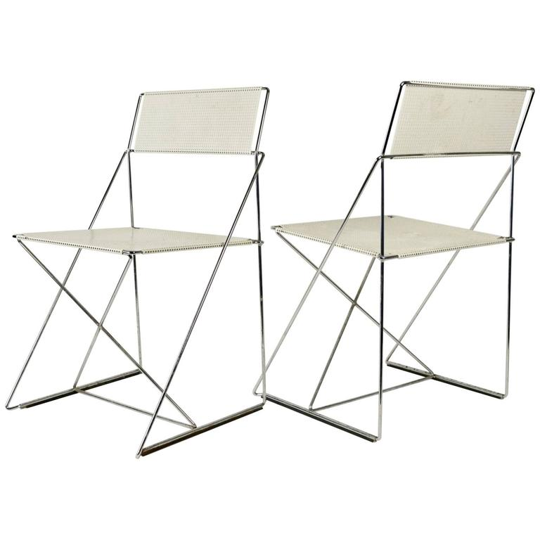 Pair of 1970s Chair in Stainless Steel and Painted Metal