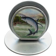 Rare Edwardian Silver and Enamel 'Leaping Tarpon' Menu Holder