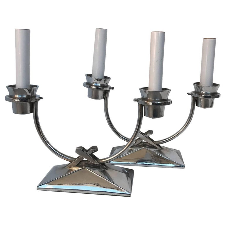Pair Of Chromed Art Deco Table Lamps For Sale