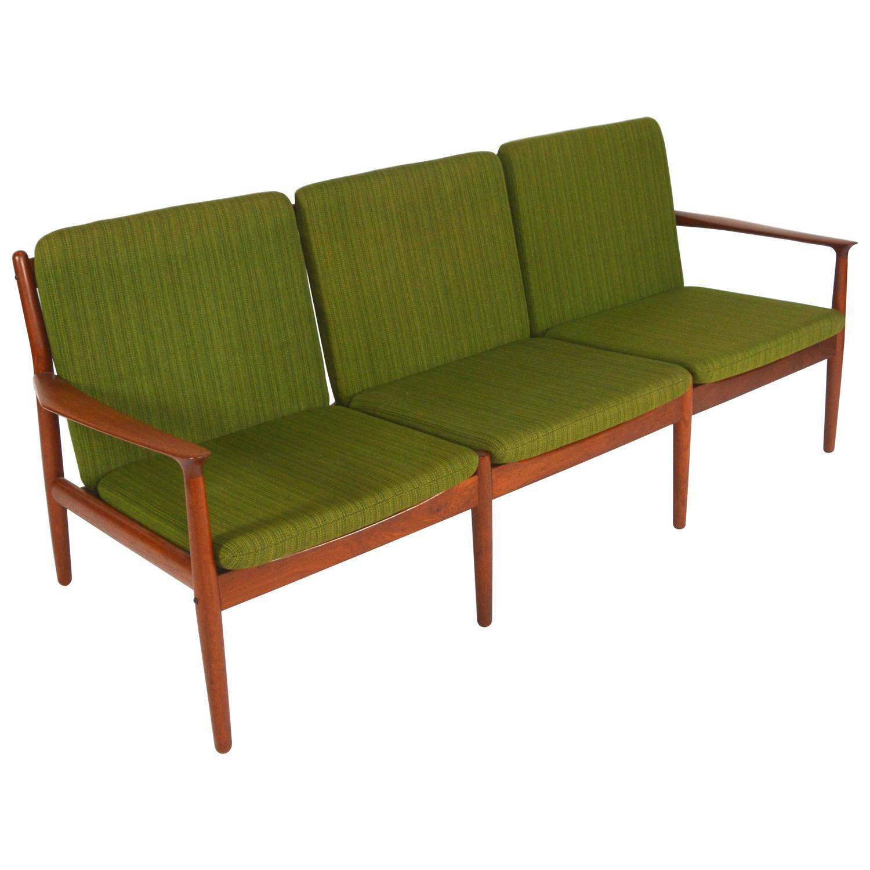 Grete Jalk Three Seat Teak Sofa for Glostrup Denmark 1960s For