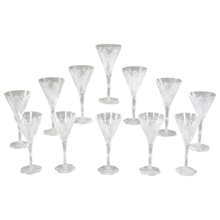 set of 12 signed baccarat elbeuf crystal tall water goblets 1 - Water Goblets