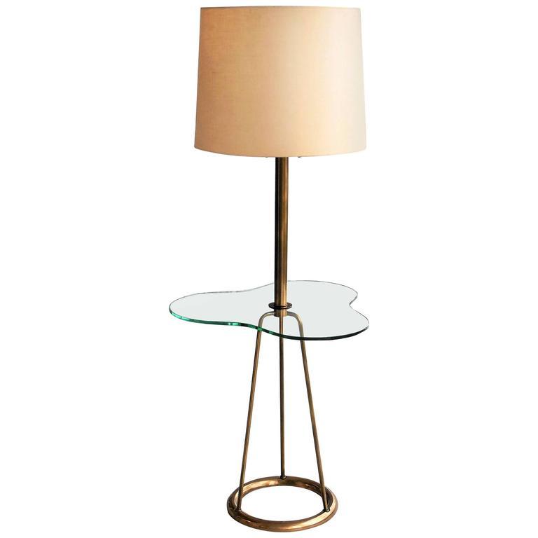 Glass and Bronze Italian Mid-Century Floor Lamp