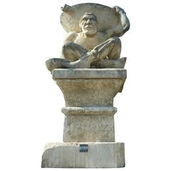Superb 20th Century Hand-Sculpture of Quasimodo in French Natural Limestone