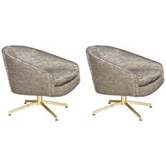 Pair of Milo Baughman Swivel Chairs with Brass Bases