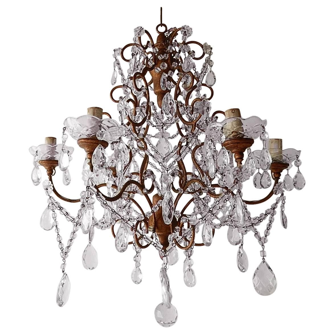 French Giltwood Crystal Prisms Chandelier, circa 1920