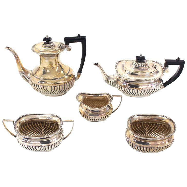 Five Pieces English Silver Plated Sheffield Tea or Coffee Set