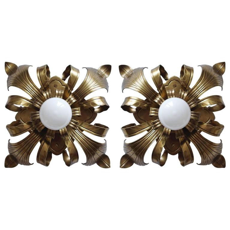 Pair of Solid Brass Ceiling or Wall Lights Flush Mounts Sconces, Italy, 1960s