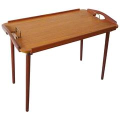 Vintage 1950s Aase Mobler Teak Side Table Tray Table Made in Norway