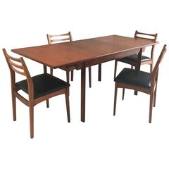 1970s Mid-Century White and Newton Dining Table with Four Dining Chairs