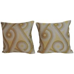 Pair of Silk Art-Deco Style Woven Decorative Pillows