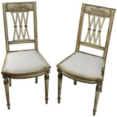 Pair of 19th Century French Second Empire Side Chairs with Original Paintwork