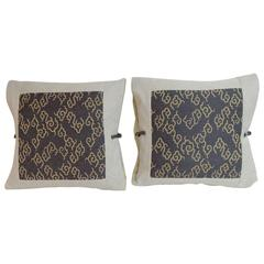 Pair of Japanese Vintage Blue and Gold Woven Silk Decorative Pillow