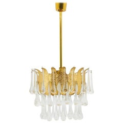 Ernst Palme Glass and Gilded Brass Chandelier for Palme, Germany 1960s
