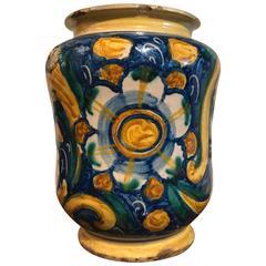 Italian Baroque Maiolica Drug Jar Albarello