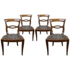 Set of Four Italian Fruitwood Chairs