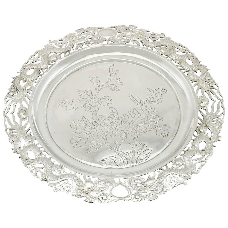 Antique Chinese Export Silver Salver
