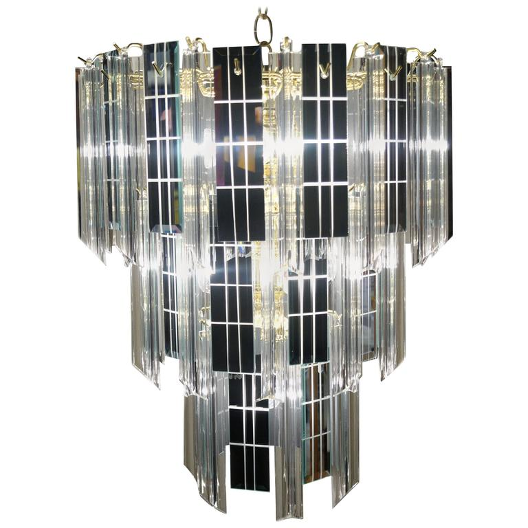 Mid-Century Modern Three-Tier Lucite and Mirror Mirrored Pendant Lamp Chandelier
