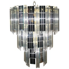 Mid-Century Modern Three-Tier Lucite and Mirror Mirrored Pendant Lamp Chandelier