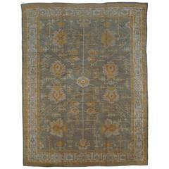 Antique Oushak Carpet, Oriental Rug, Handmade Grey, Ivory, Saffron