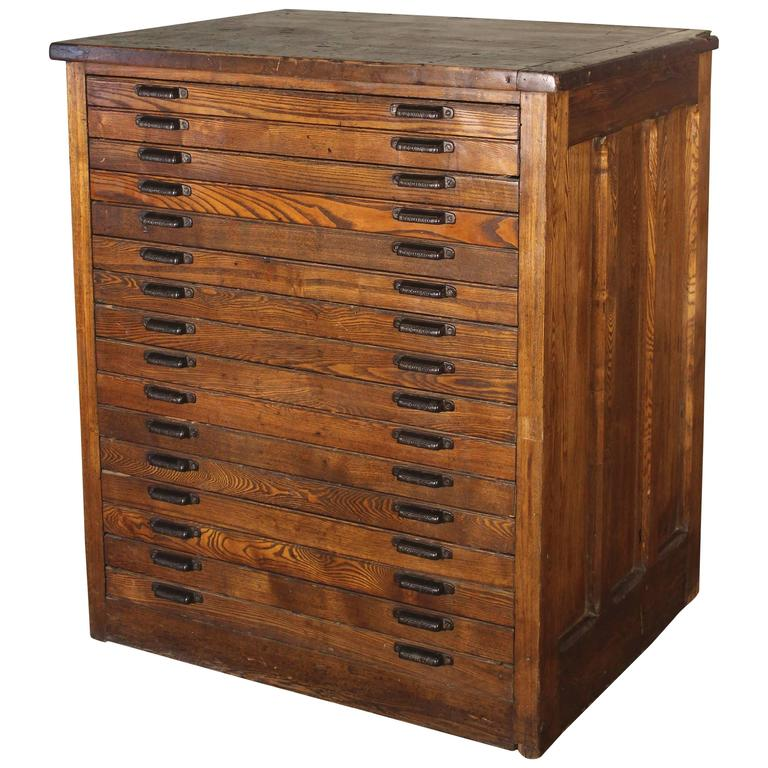 Superb Vintage Industrial Hamilton Wood Flat File Multi Drawer Storage Cabinet For  Sale
