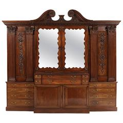 Georgian Palladian Inspired Mahogany Breakfront Bookcase, 18th Century and Later