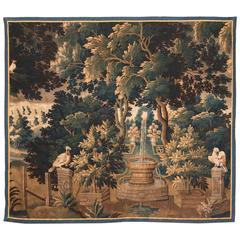 Mid-18th Century French Aubusson Verdure Tapestry with Birds and a Fountain