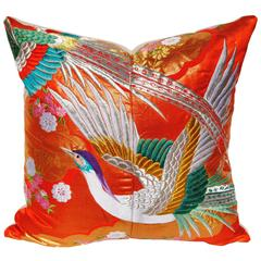 Custom Pillow Cut from a Japanese Silk Embroidered Uchikake Wedding Kimono