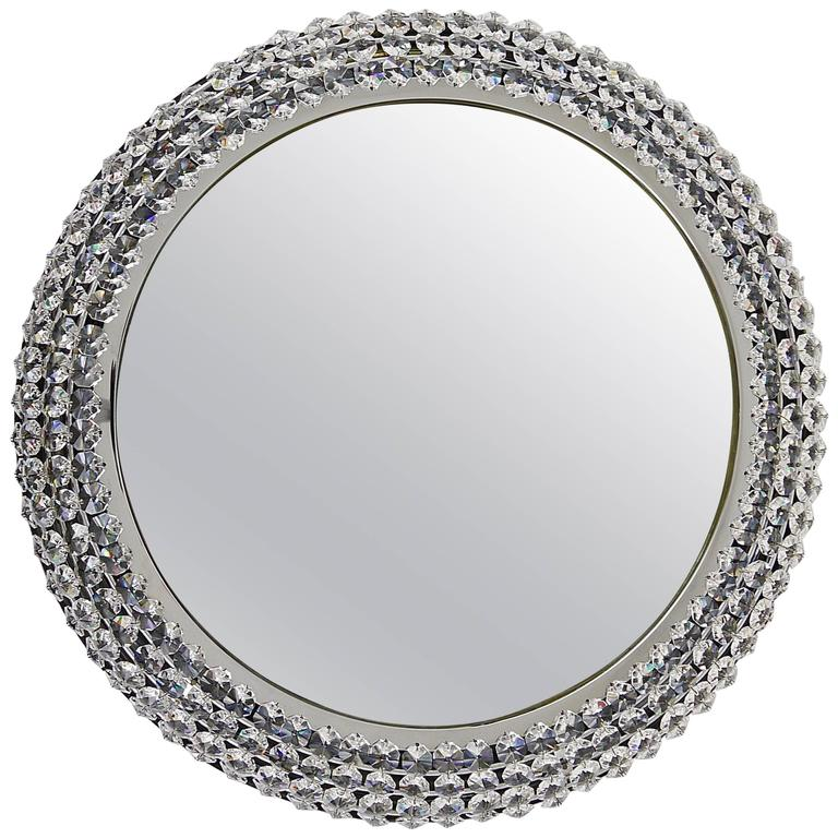 Round Chromed Crystal Backlit Wall Mirror, Austria, 1960s