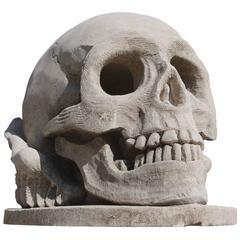 Beautiful 20th Century Hand Sculpted Skull in French Limestone
