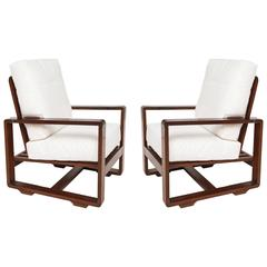Style Sornay Deco Rosewood Lounge Chairs, France 1930-1940 Mid-Century Modernist